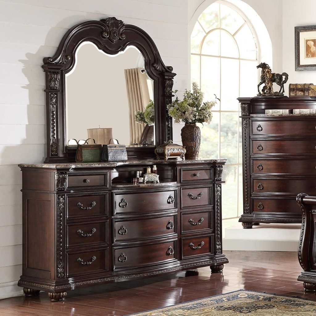 Crown mark stanley bedroom traditional dresser and mirror set