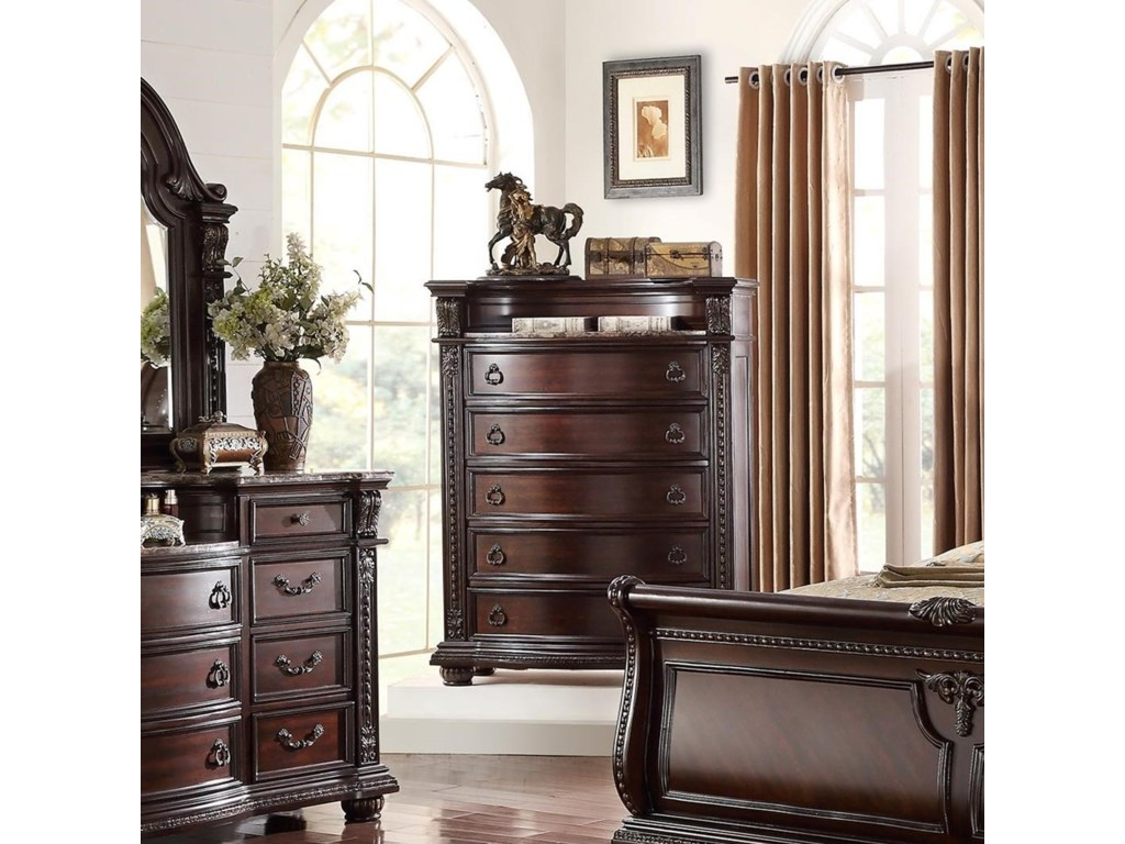 Crown Mark Stanley Bedroom Traditional Chest of Drawers | Royal ...