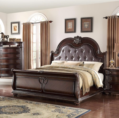 Crown Mark Stanley Bedroom Traditional King Panel Bed | Lindy\'s ...