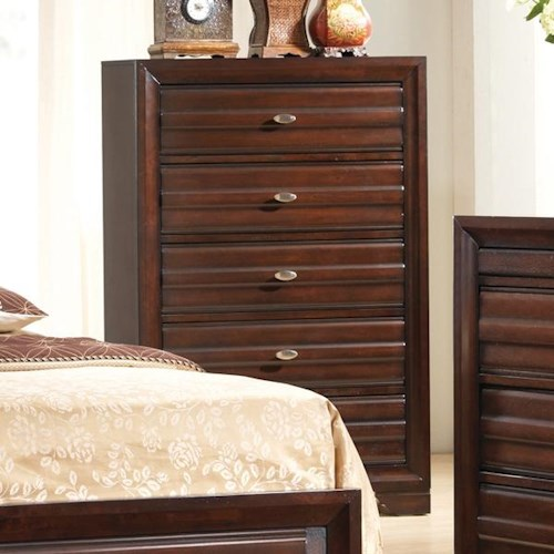 Tall 5 drawer chest with oval hardware knobs stella by for Mark v bedroom volume