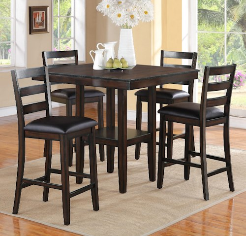 CM Tahoe 5 Piece Counter Height Table and Chairs Set