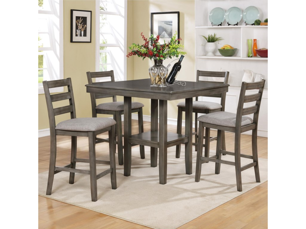 Crown Mark Tahoe 5 Piece Counter Height Table And Chairs Set Royal