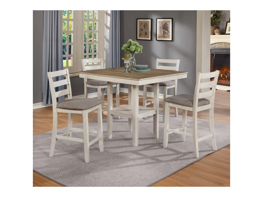Crown Mark Tahoe5 Piece Counter Height Table and Chairs Set
