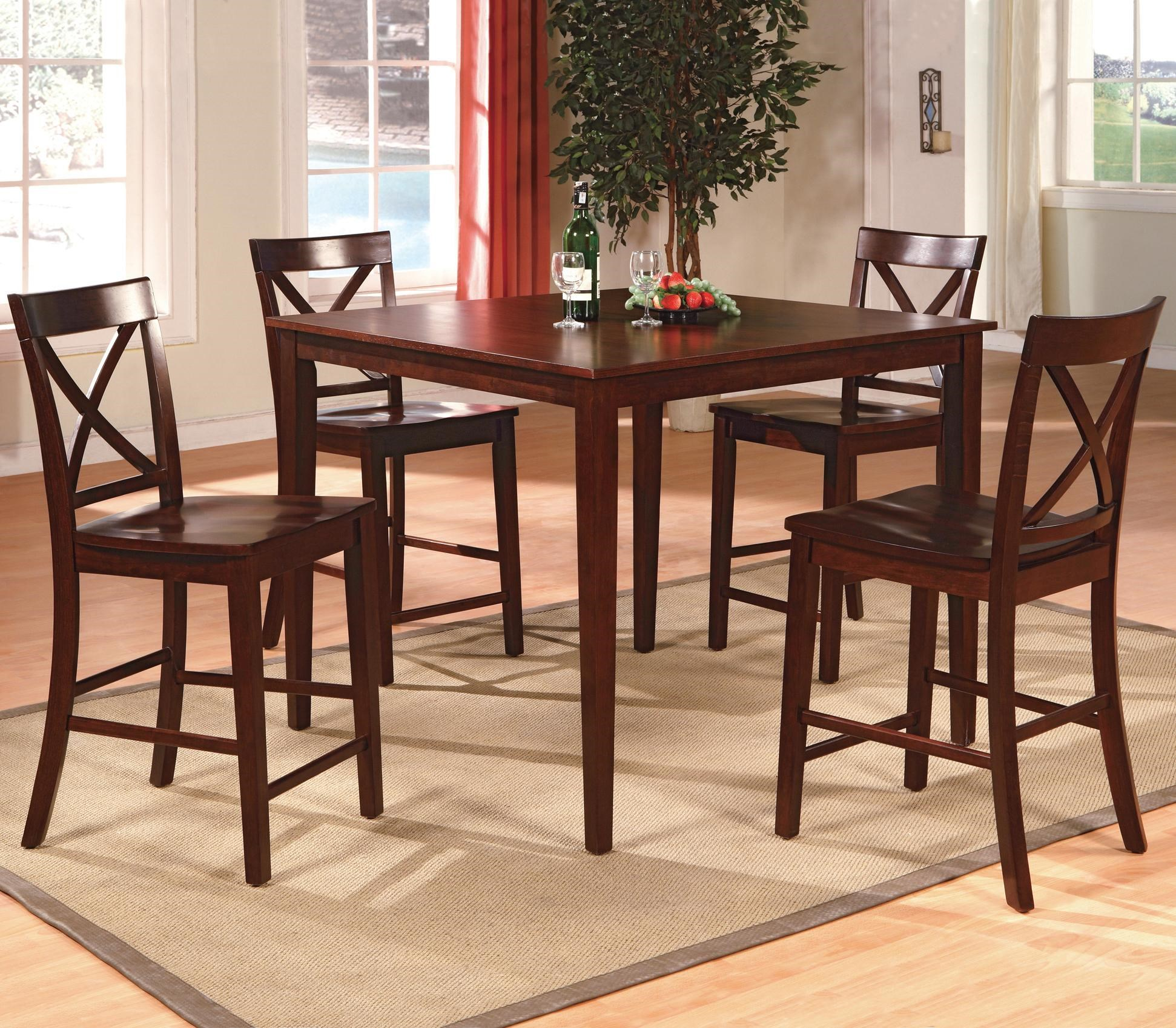CM Theodore 5 Piece Counter Height Table Set With 4 Crossback Chairs