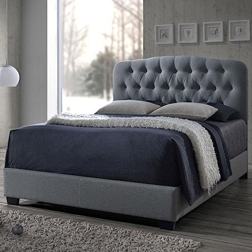 Crown Mark Tilda Grey King Upholstered Bed