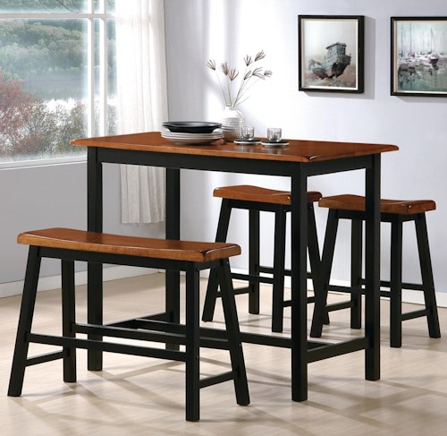 Counter Height Dining Table With Bench: 4 Piece Counter Height Table Set With Chairs And Bench