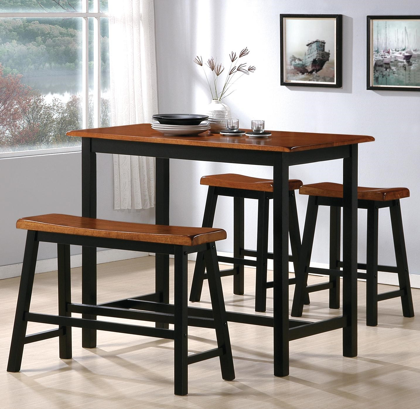Crown Mark Tyler 4 Piece Counter Height Table Set with Chairs and Bench & Crown Mark Tyler 4 Piece Counter Height Table Set with Chairs and ...