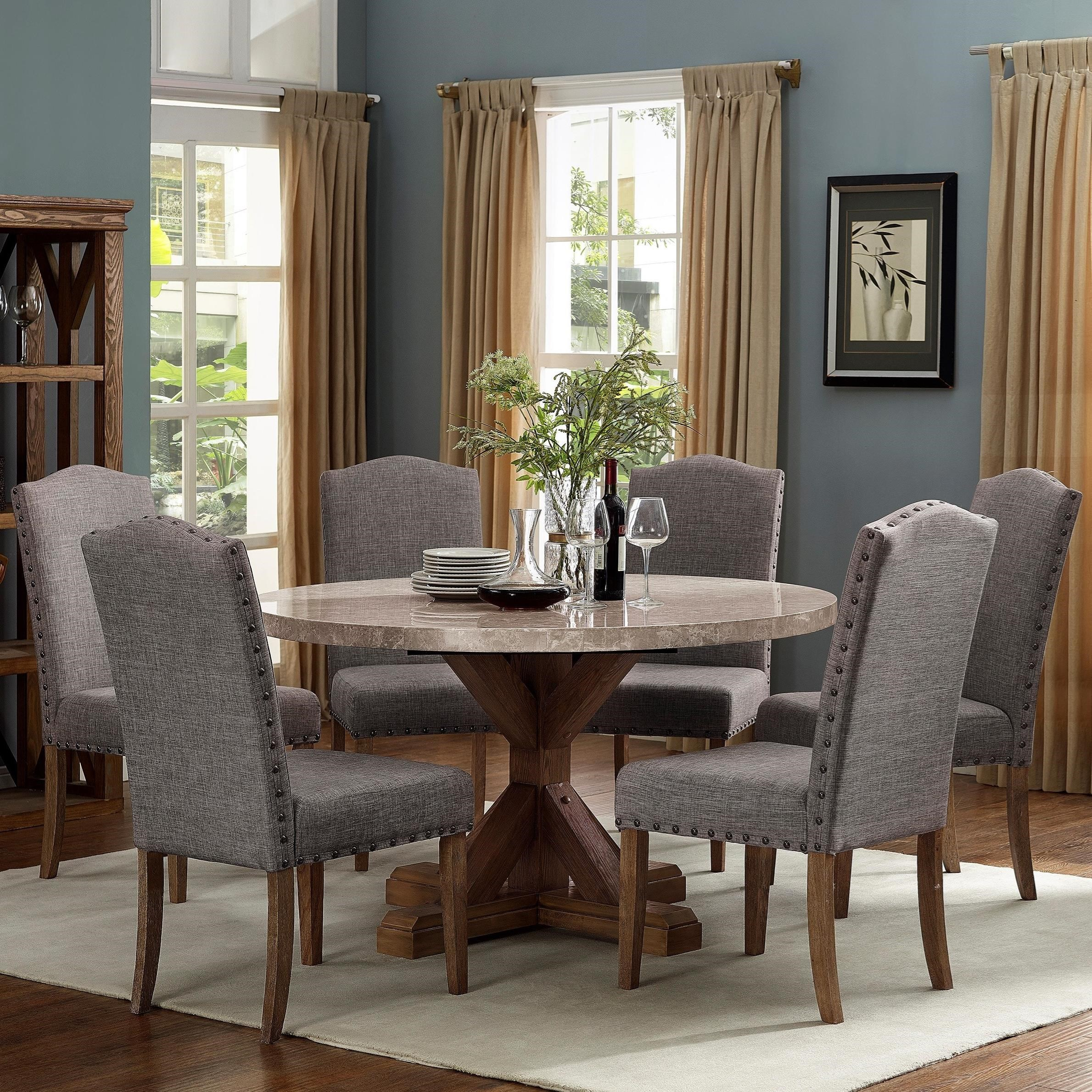 Crown Mark Vesper Dining Dining Set With Round Table Royal Furniture Dining 7 Or More Piece Sets