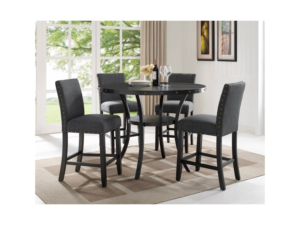 Crown Mark WallaceFive Piece Chair & Pub Table Set