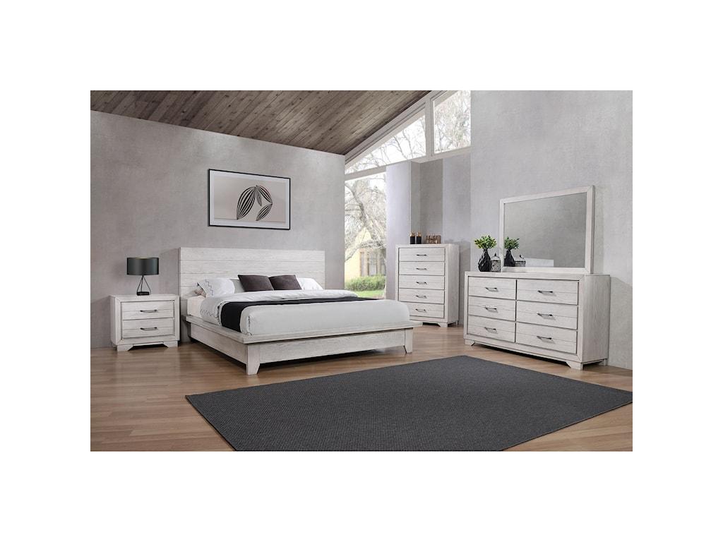 Crown Mark White SandsQueen Bedroom Group