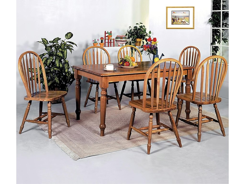 Crown Mark Windsor Solid 7 Piece Rectangular Leg Dining Table And Side Chairs Set