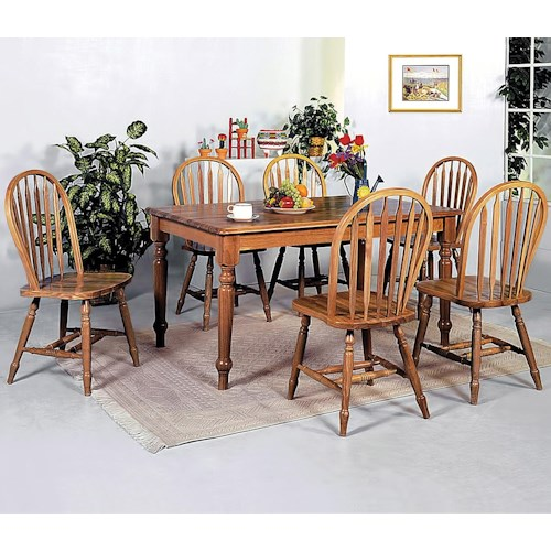 Crown Mark Windsor Solid 7 Piece Rectangular Leg Dining Table and ...