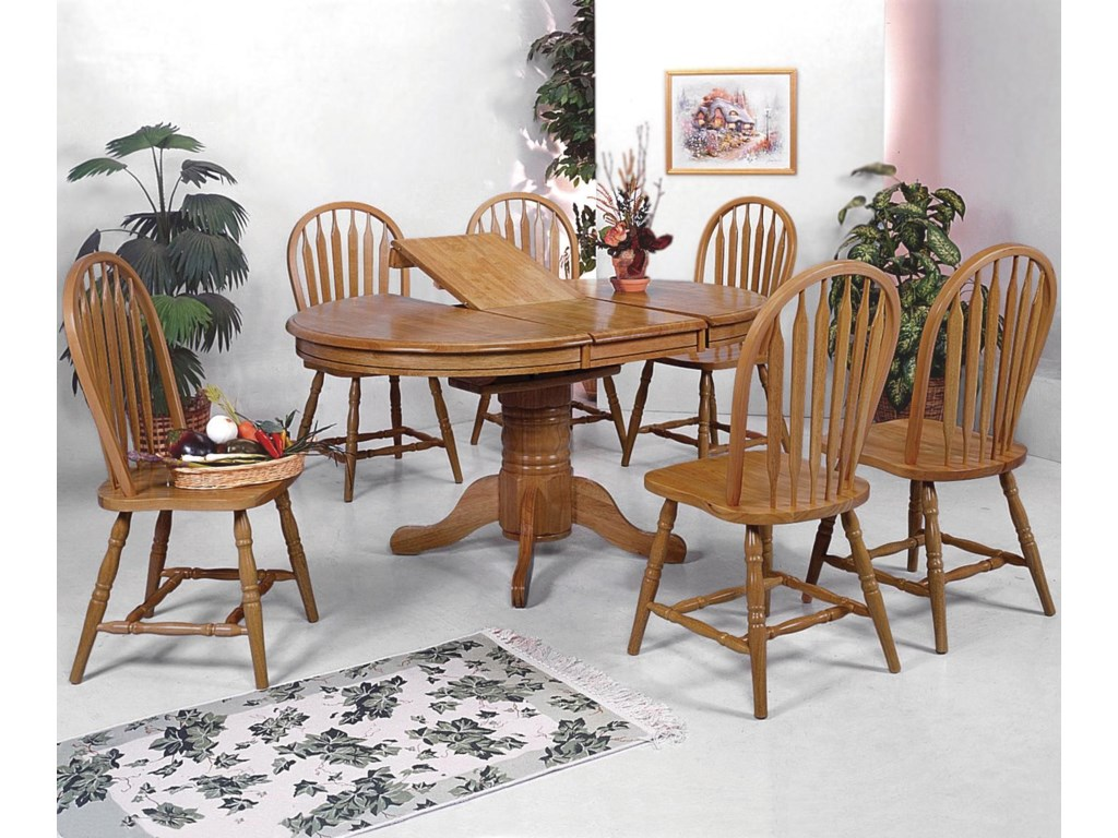 Windsor Solid 7 Piece Oval Dining Table And Side Chairs