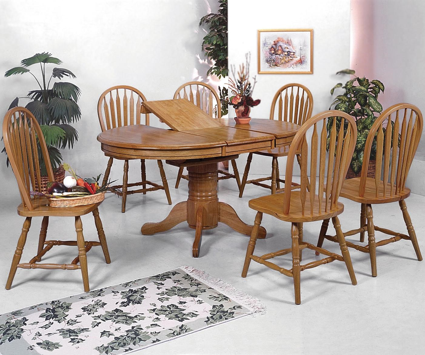 Crown Mark Windsor Solid7 Piece Oval Dining Table And Side Chairs