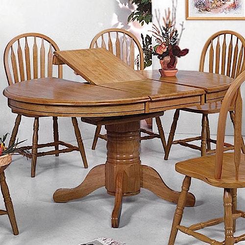 Crown Mark Windsor Solid Oval Pedestal Dining Table Wayside - Oblong pedestal dining table