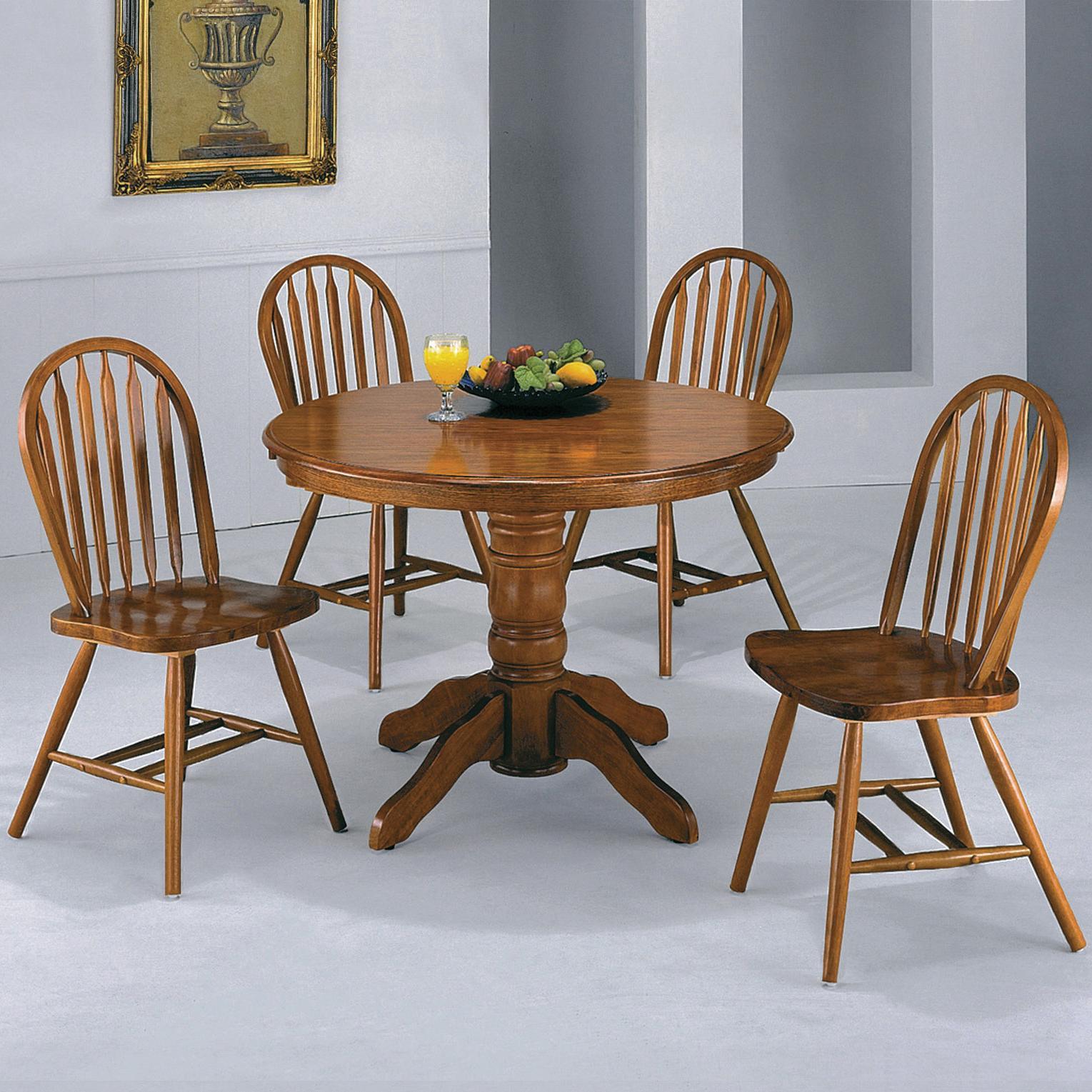 Crown Mark Windsor Solid 5 Piece Dark Oak Round Table Set   Furniture  Superstore   NM   Dining 5 Piece Sets