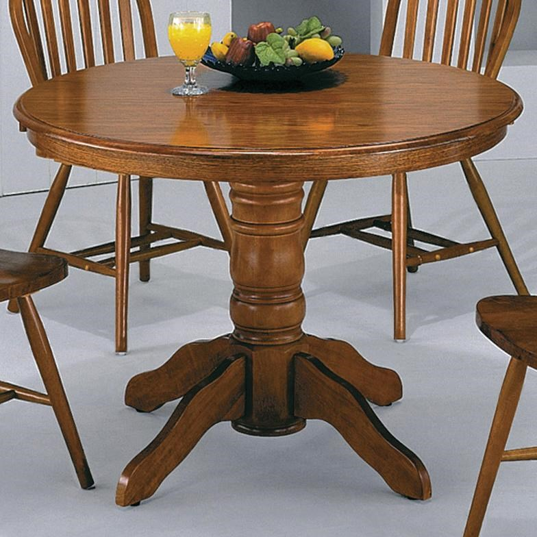 Crown Mark Windsor Solid Dark Oak Round Pedestal Table