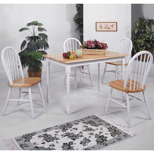 Crown Mark Windsor Solid 5 Piece Slim Rectangular Table and Chairs ...