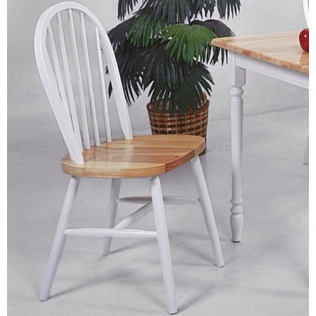 White and Natural Side Chair