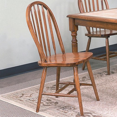 Crown Mark Windsor Solid Dark Oak Dining Side Chair
