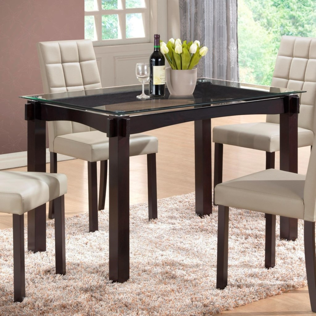 Gl Top Kitchen Table | Crown Mark Zora Floating Glass Top Dining Table Dunk Bright