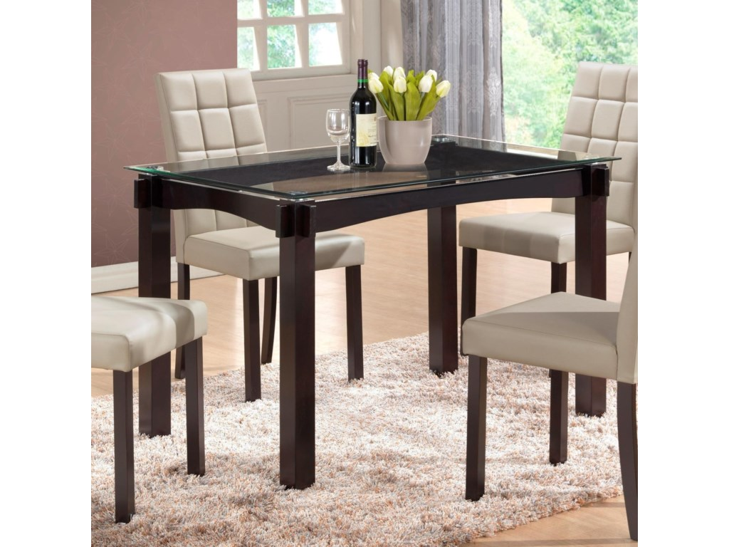 Crown Mark Zora Floating Gl Top Dining Table Household Furniture Pub