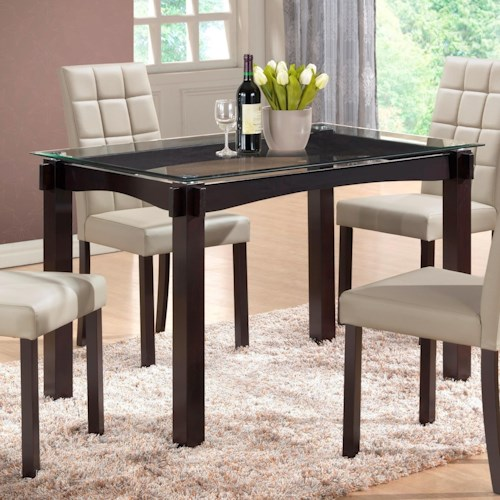 Crown Mark Zora Floating Gl Top Dining Table