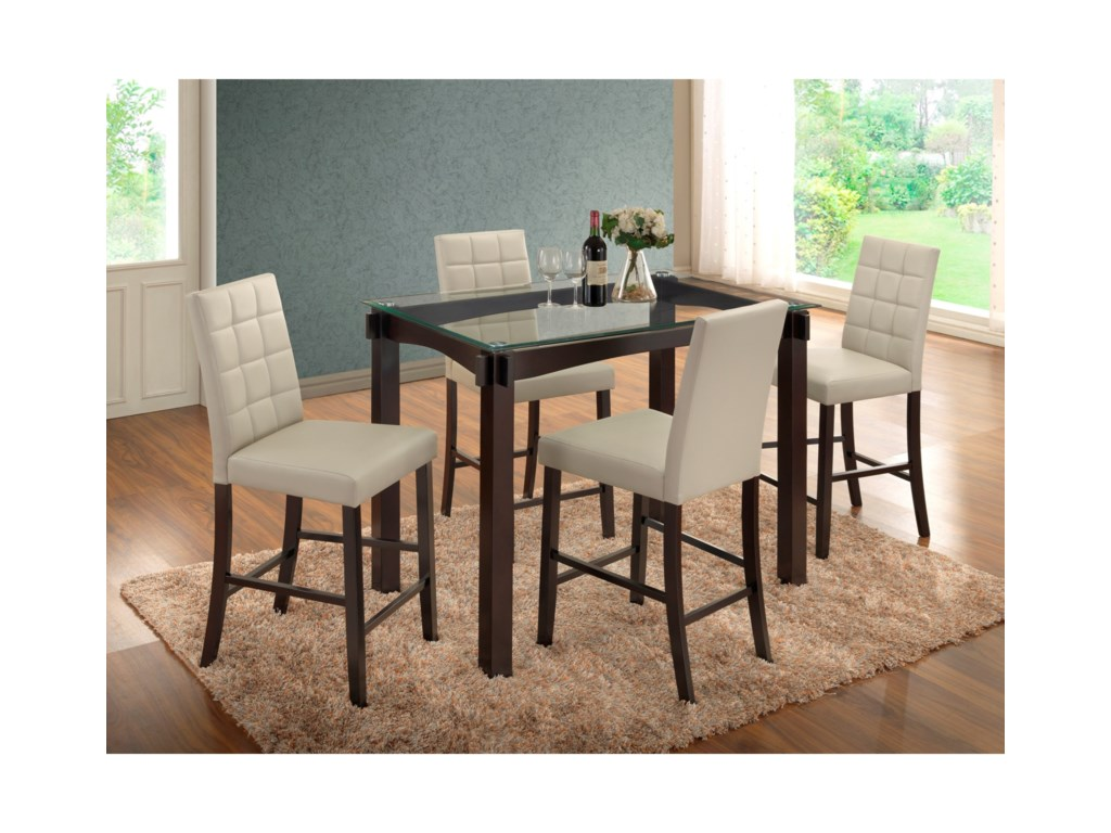 Crown Mark Zora 5 Piece Glass Table And Stool Set Colder S
