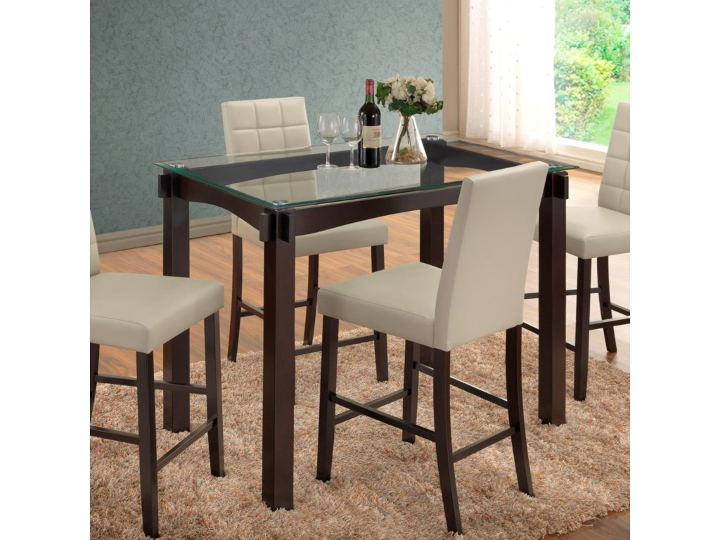 Crown Mark Zora Gl Top Counter Height Table