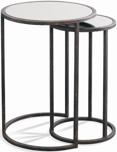 CTH Sherrill Occasional Parisian Loft Nest of Aged Iron and Bronze Mirrored Glass Tables