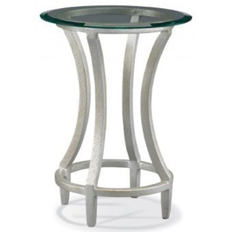 CTH Sherrill Occasional Masterpiece   Stippled Platinum Round Drink Table  With Laid On Glass Top