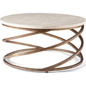 Cth Sherrill Occasional Masterpiece Boing Round Cocktail Table With Spiraled Wrought Iron Base Sprintz Furniture Cocktail Coffee Tables