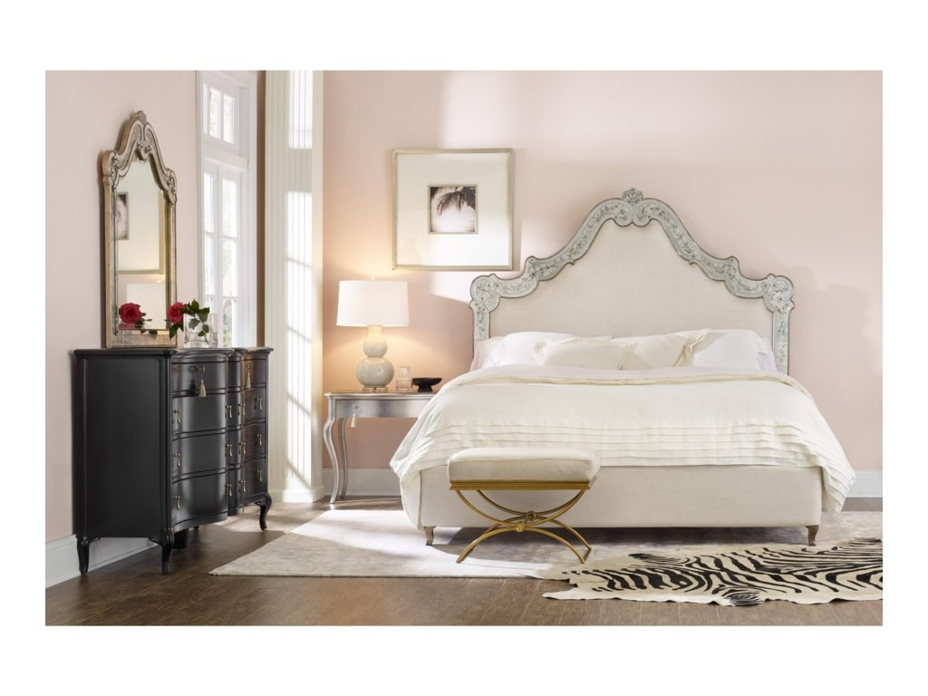 Cynthia Rowley for Hooker Furniture Cynthia Rowley - CuriousSwirl Queen Venetian Upholstered Bed