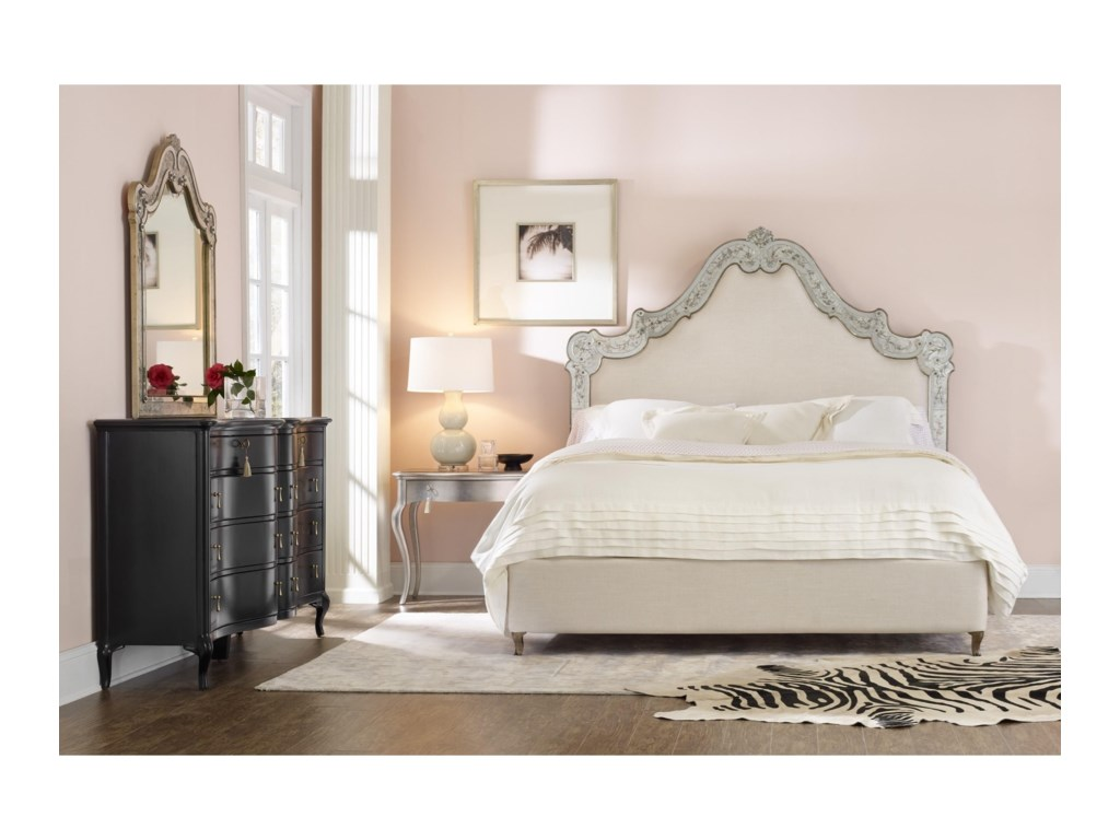 Cynthia Rowley for Hooker Furniture Cynthia Rowley - CuriousSwirl Cal King Venetian Upholstered Bed