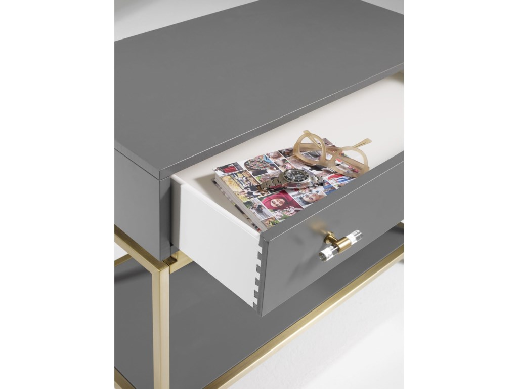 Cynthia Rowley for Hooker Furniture Cynthia Rowley - SportyHappily Gray One-Drawer Leg Nightstand