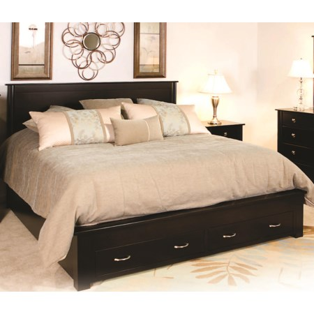 Frame Bed with 2 Footboard Drawers