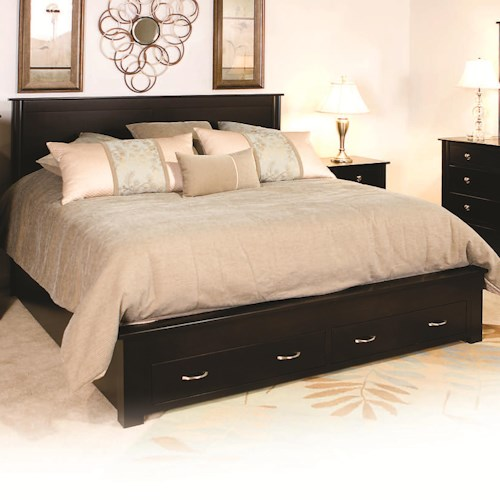 Daniel's Amish Cosmopolitan Queen Frame Bed with 2 Footboard Drawers