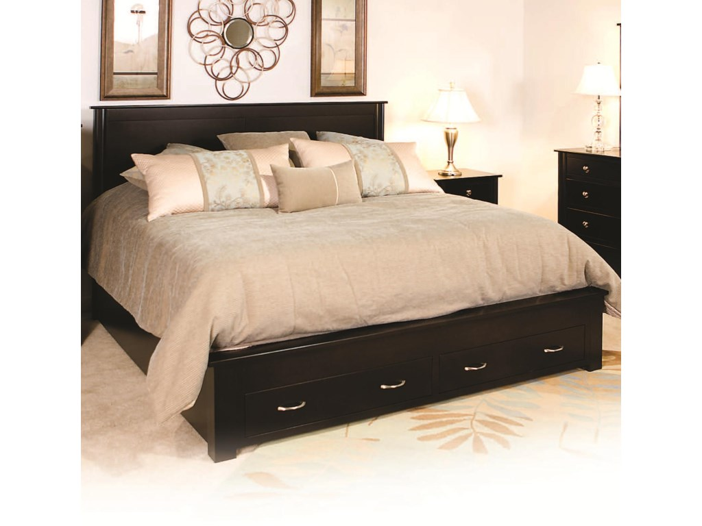 Daniel's Amish CosmopolitanFrame Bed with 2 Footboard Drawers