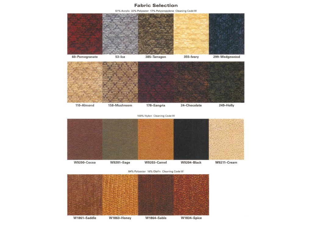 Fabrics Available For Seat