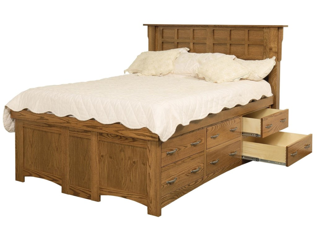Daniel S Amish Arts And Crafts King Solid Wood Pedestal Bed With 12