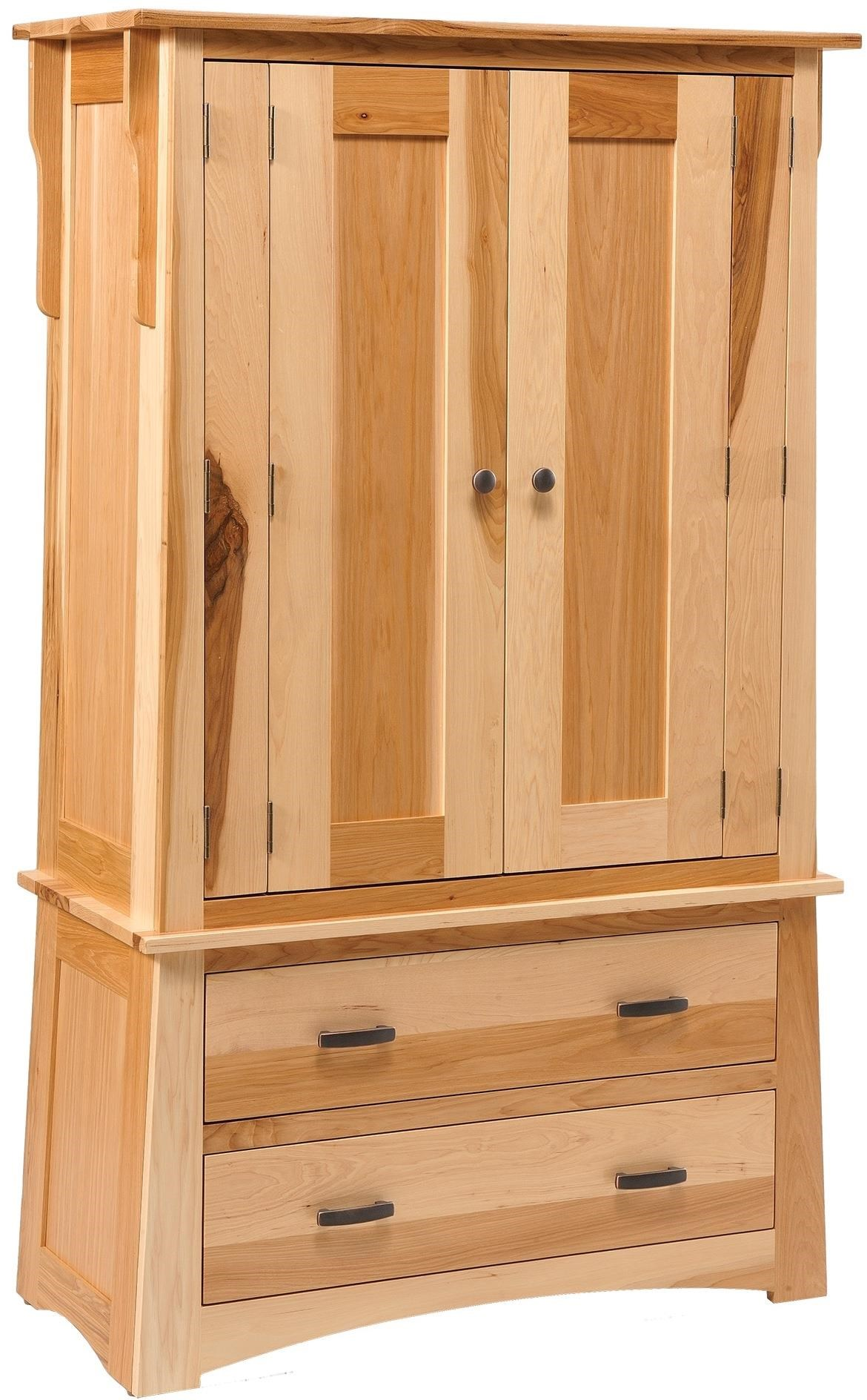 Danielu0027s Amish Arts And Crafts 2  Drawer Armoire With 2 Doors And Wardrobe  Pole