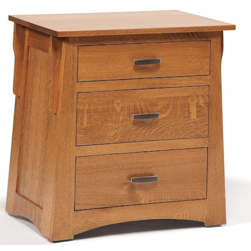 Daniel's Amish Arts and Crafts Solid Wood 3-Drawer Nightstand