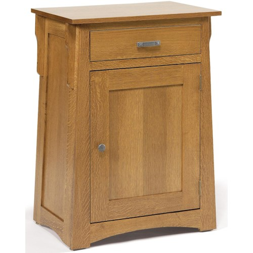 Daniel's Amish Arts and Crafts Solid Wood 1-Drawer Nightstand with Slanted Profile and 1 Door