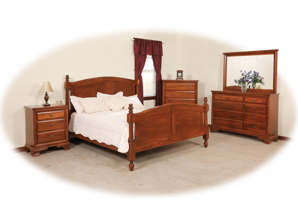 Daniel's Amish ClassicFull Pedestal Bed W/ Storage Drawer