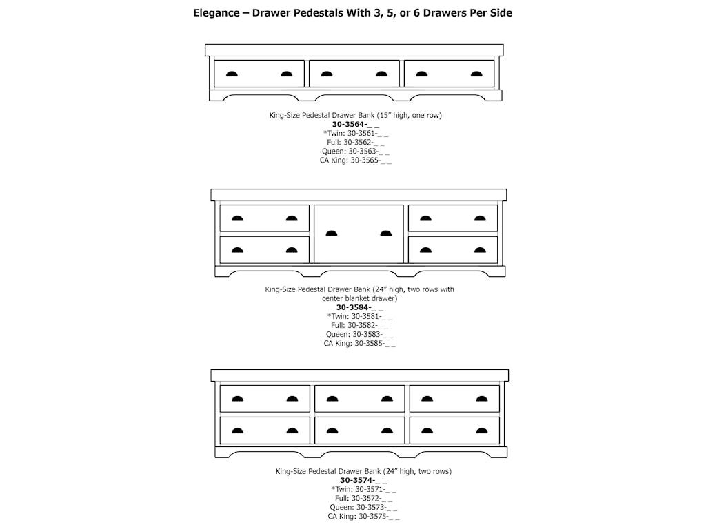 Daniel's Amish EleganceCal King Pedestal Bed W/ Storage Drawer