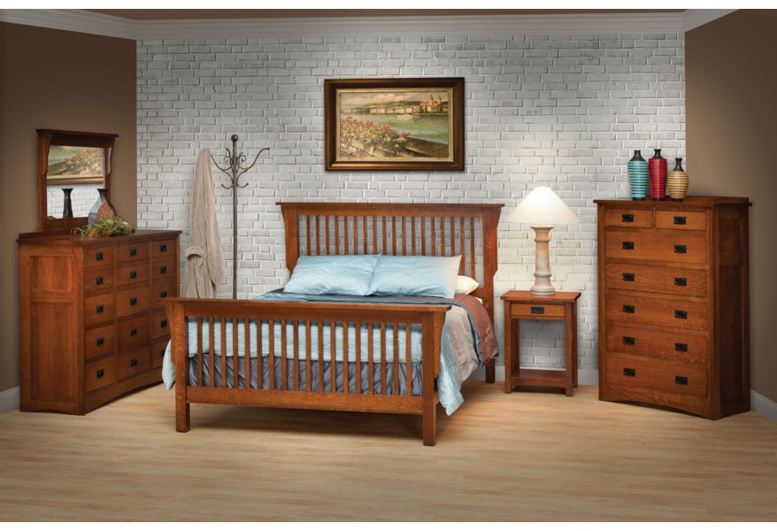 Daniel S Amish Mission California King Mission Style Frame Bed With Headboard Footboard Slat Detail Belfort Furniture Panel Beds