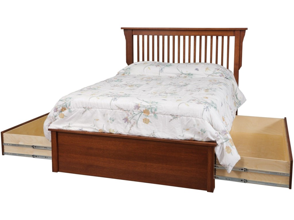 Daniel S Amish Missionqueen Pedestal Bed W Storage Drawer