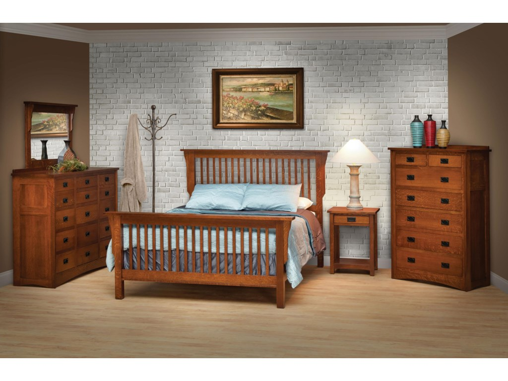 Shown with 42x36 Mirror, Frame Bed, Open Nightstand & Chest