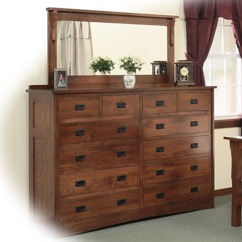 Daniel's Amish Mission 12-Drawer Solid Wood Double Dresser with 58 X 28 Landscape Mirror