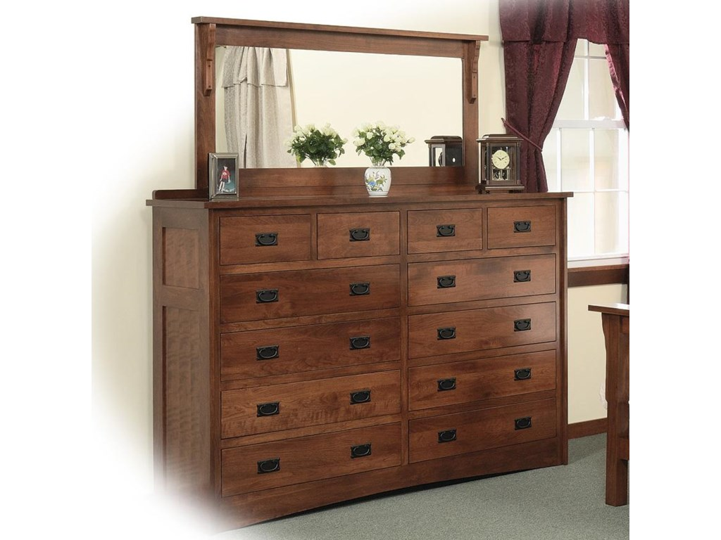 Daniel S Amish Missiondouble Dresser With 58 X 28 Mirror